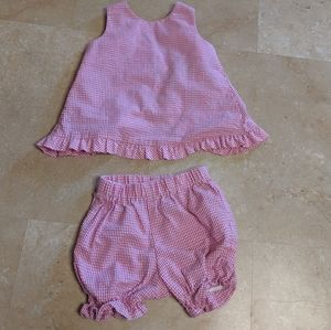 Vintage Gingham Pink Set Girls Set